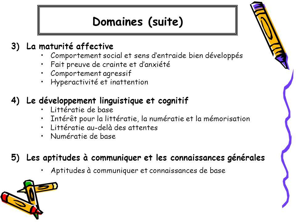 Domaines (suite) 3) La maturité affective