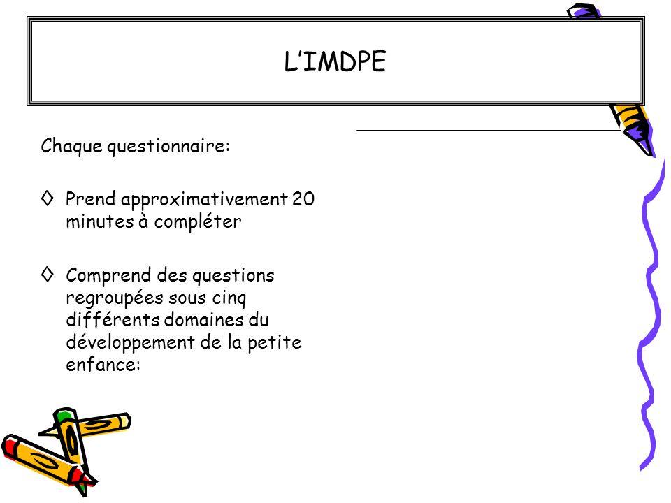 L'IMDPE Chaque questionnaire: