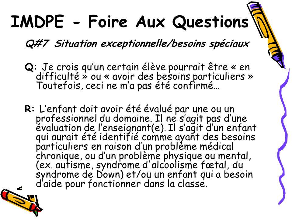 IMDPE - Foire Aux Questions