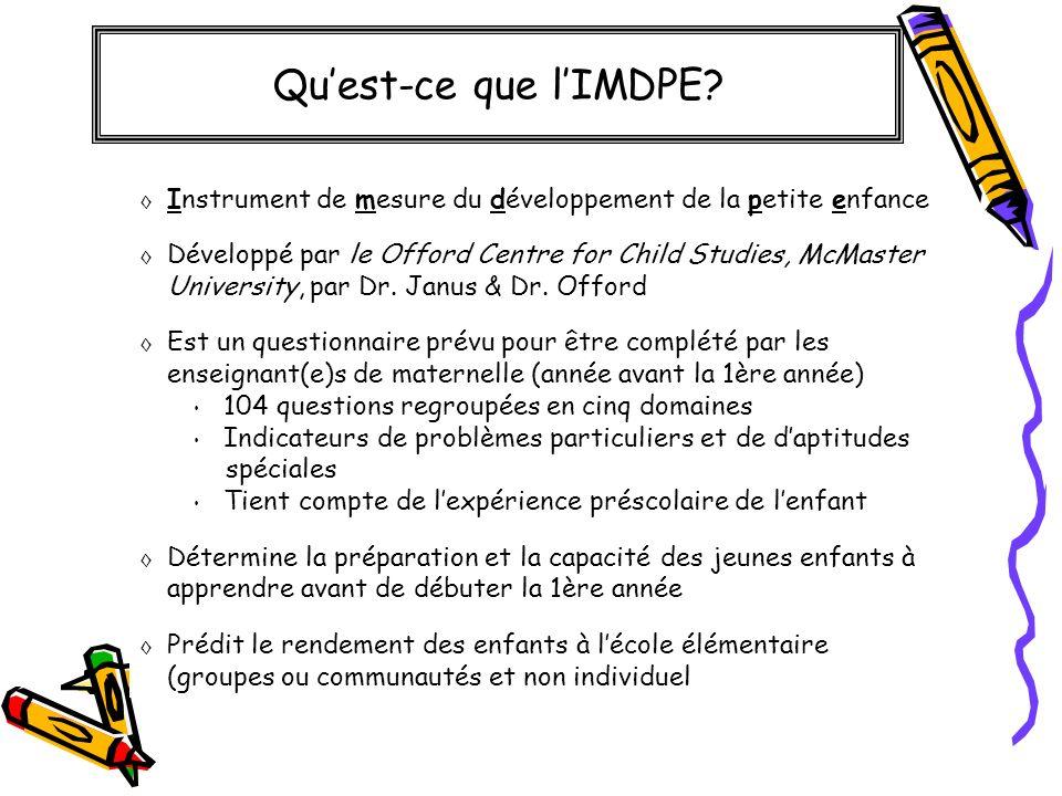 Qu'est-ce que l'IMDPE Instrument de mesure du développement de la petite enfance.