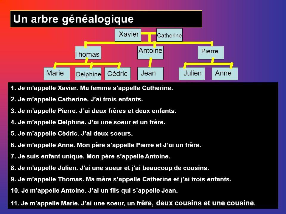 Un arbre généalogique Xavier Antoine Thomas Marie Cédric Jean Julien