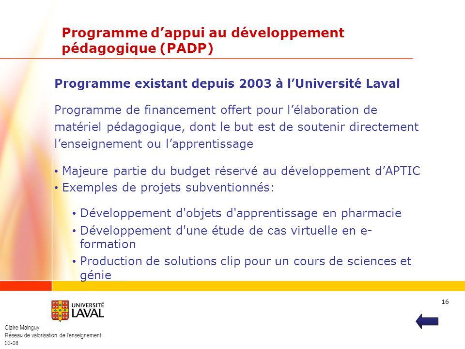 Programme d'appui au développement pédagogique (PADP)