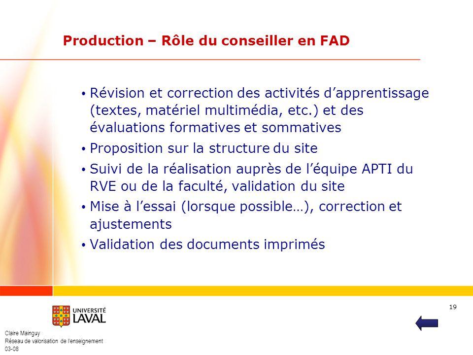 Production – Rôle du conseiller en FAD