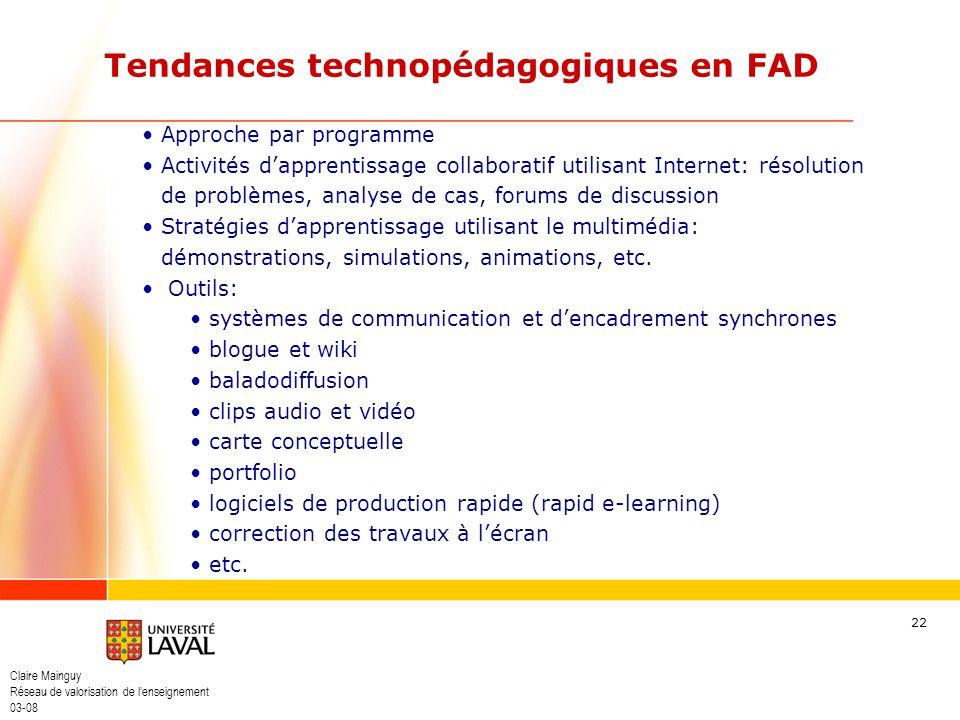 Tendances technopédagogiques en FAD
