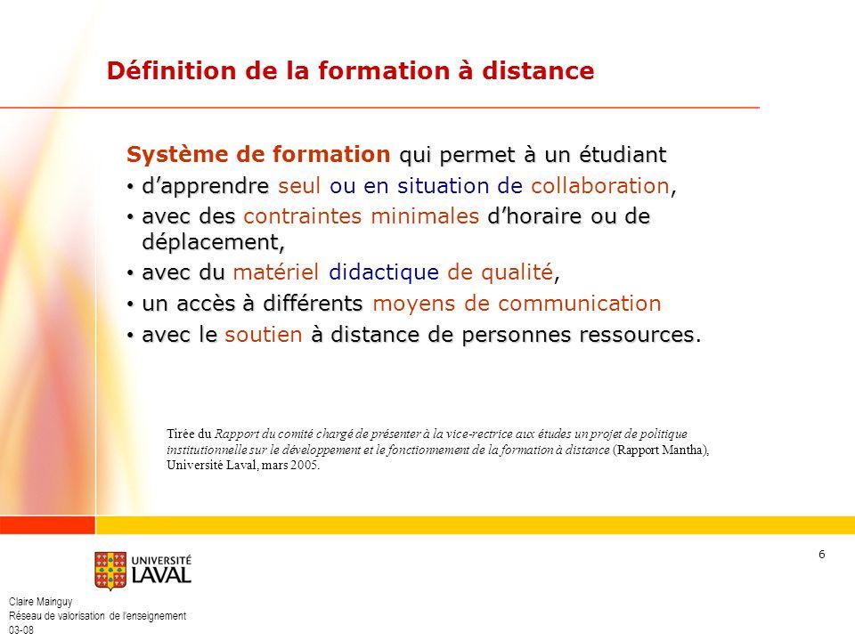 Définition de la formation à distance