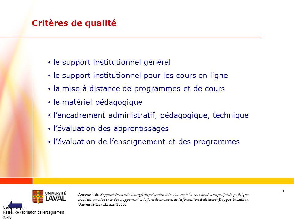 Critères de qualité le support institutionnel général
