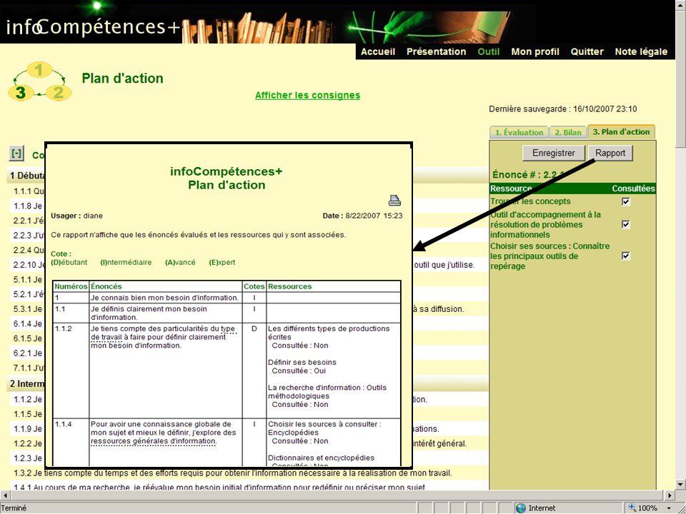 Josianne Enfin, toujours dans le module Plan d'action, l'étudiant peut accéder à un rapport global de ses résultats.