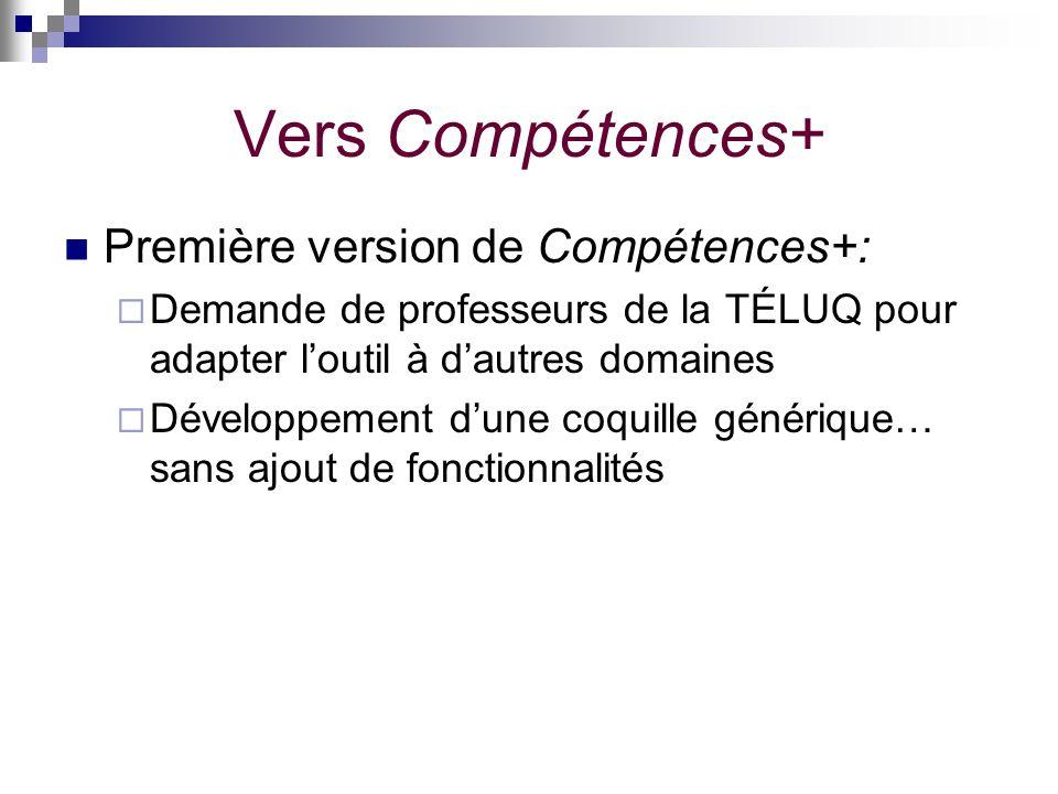 Vers Compétences+ Première version de Compétences+: