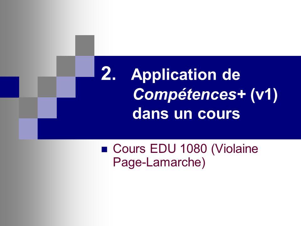 2. Application de Compétences+ (v1) dans un cours