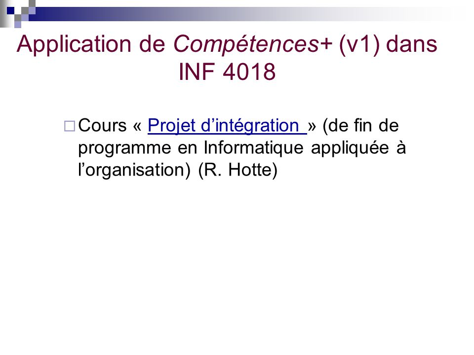 Application de Compétences+ (v1) dans INF 4018