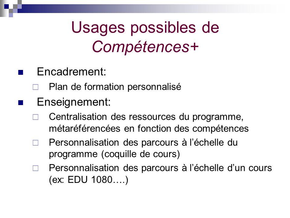 Usages possibles de Compétences+