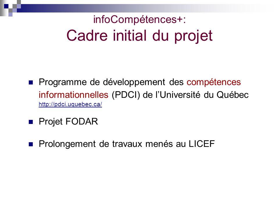 infoCompétences+: Cadre initial du projet