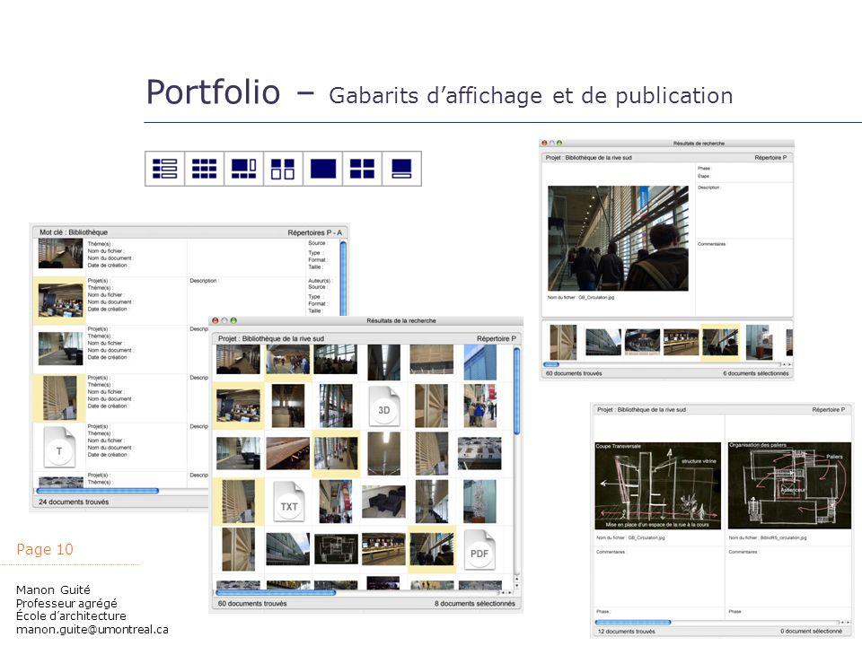 Portfolio – Gabarits d'affichage et de publication