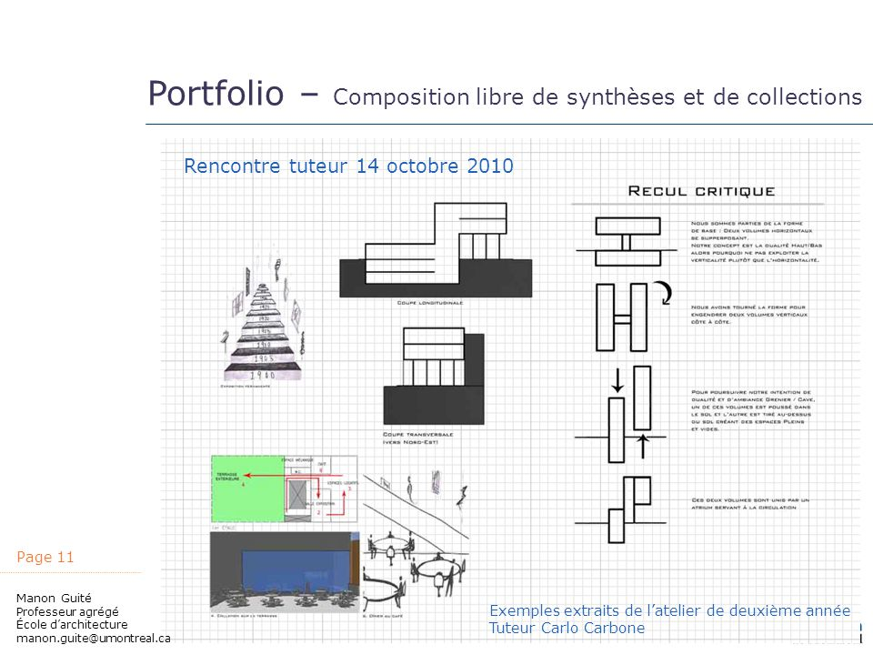 Portfolio – Composition libre de synthèses et de collections