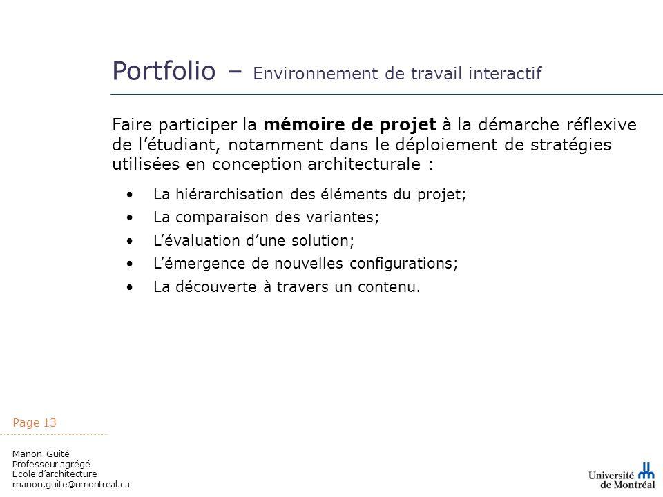 Portfolio – Environnement de travail interactif