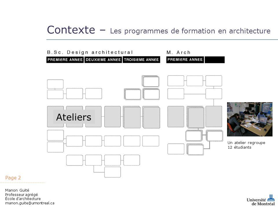 Contexte – Les programmes de formation en architecture