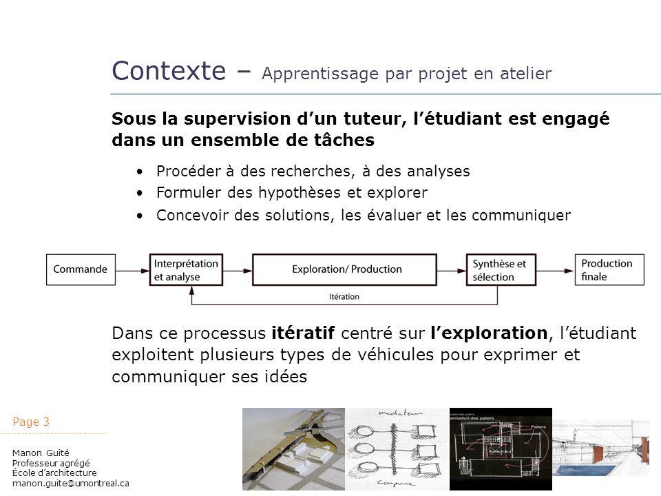 Contexte – Apprentissage par projet en atelier