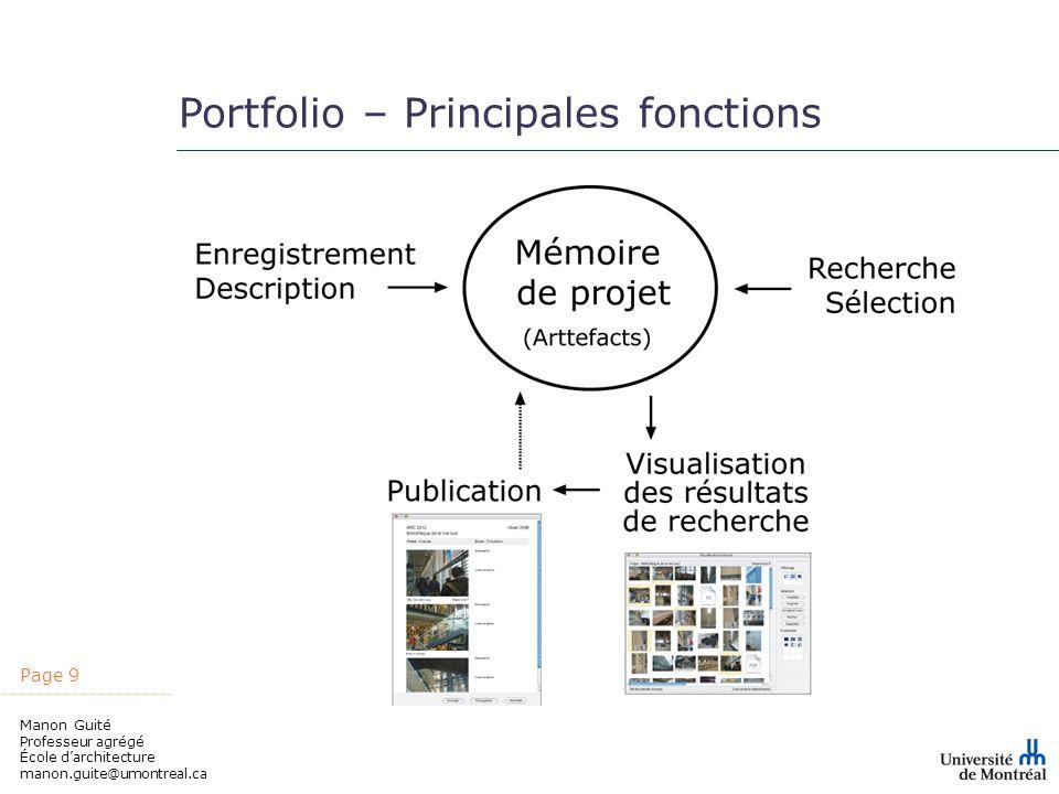 Portfolio – Principales fonctions