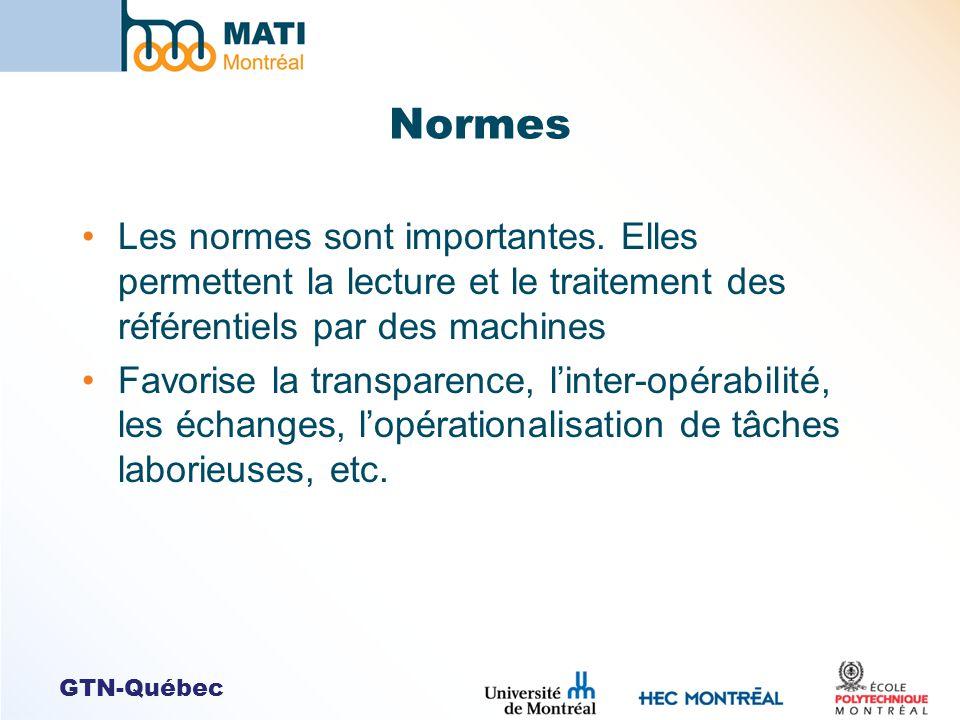 Normes Les normes sont importantes. Elles permettent la lecture et le traitement des référentiels par des machines.