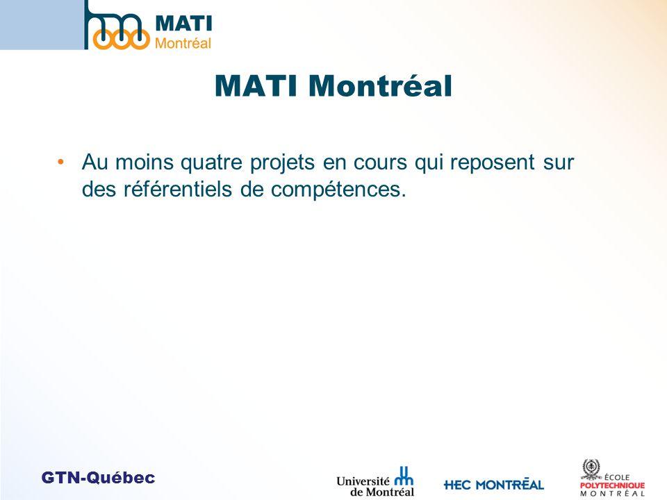 MATI Montréal Au moins quatre projets en cours qui reposent sur des référentiels de compétences.