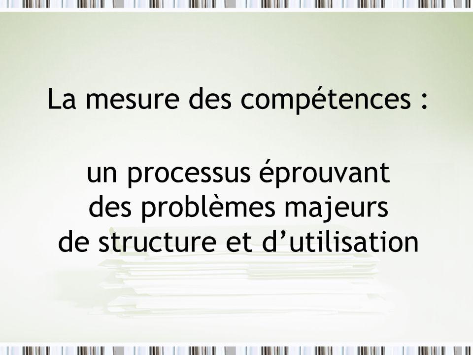 La mesure des compétences : un processus éprouvant des problèmes majeurs de structure et d'utilisation