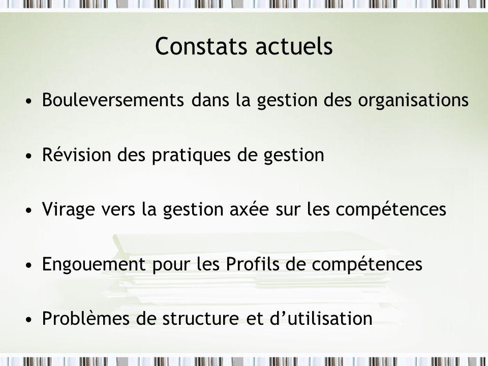 Constats actuels Bouleversements dans la gestion des organisations