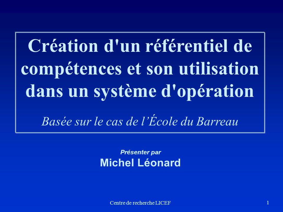 Création d un référentiel de compétences et son utilisation dans un système d opération