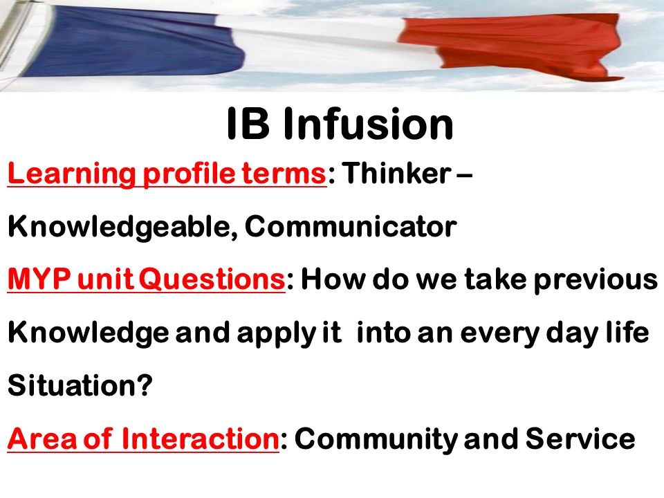 IB Infusion Learning profile terms: Thinker –