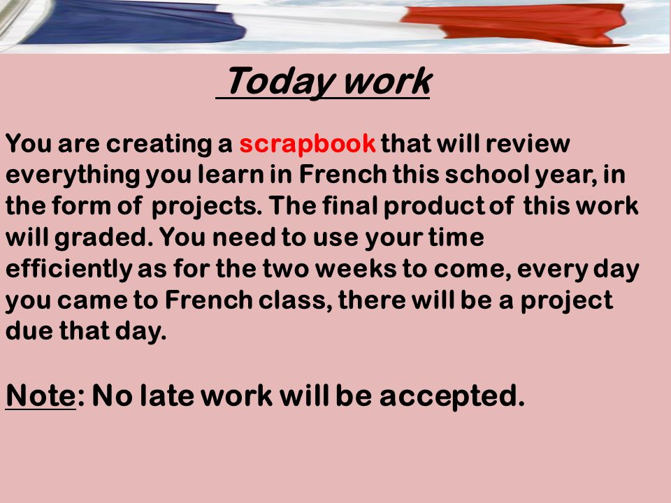 Note: No late work will be accepted.
