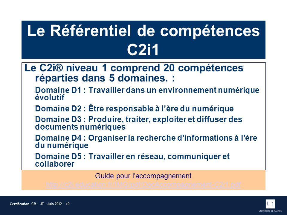 Le Référentiel de compétences C2i1