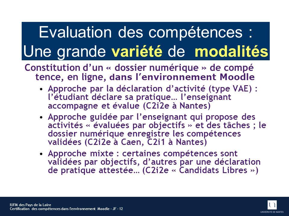 Evaluation des compétences : Une grande variété de modalités