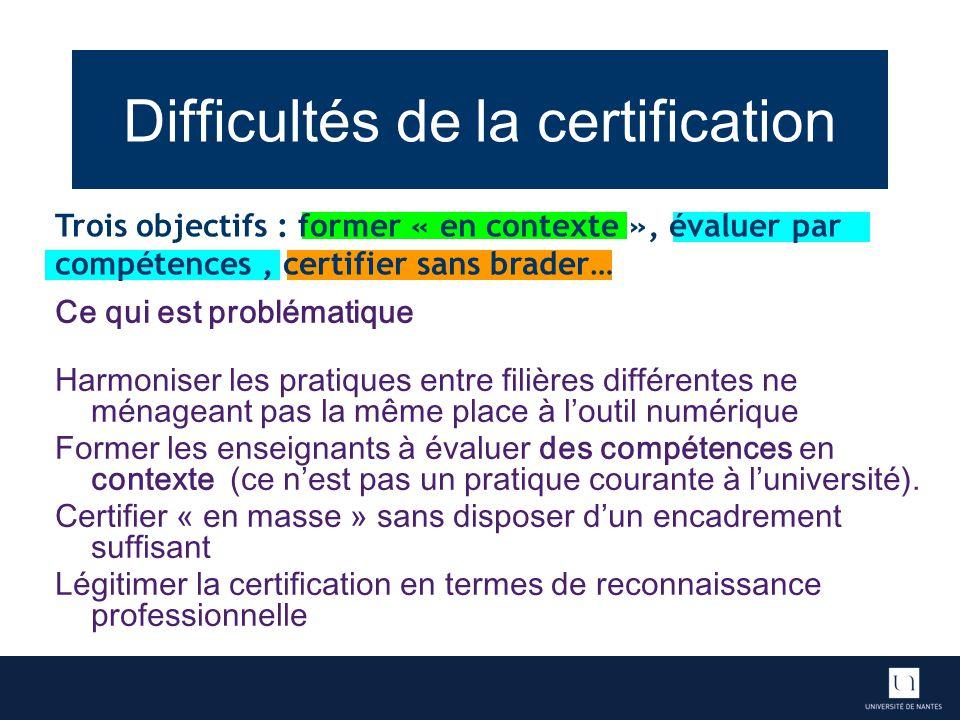 Difficultés de la certification