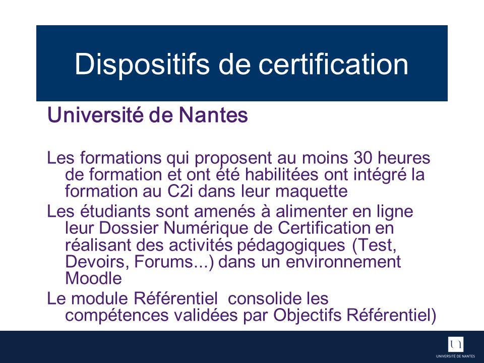 Dispositifs de certification