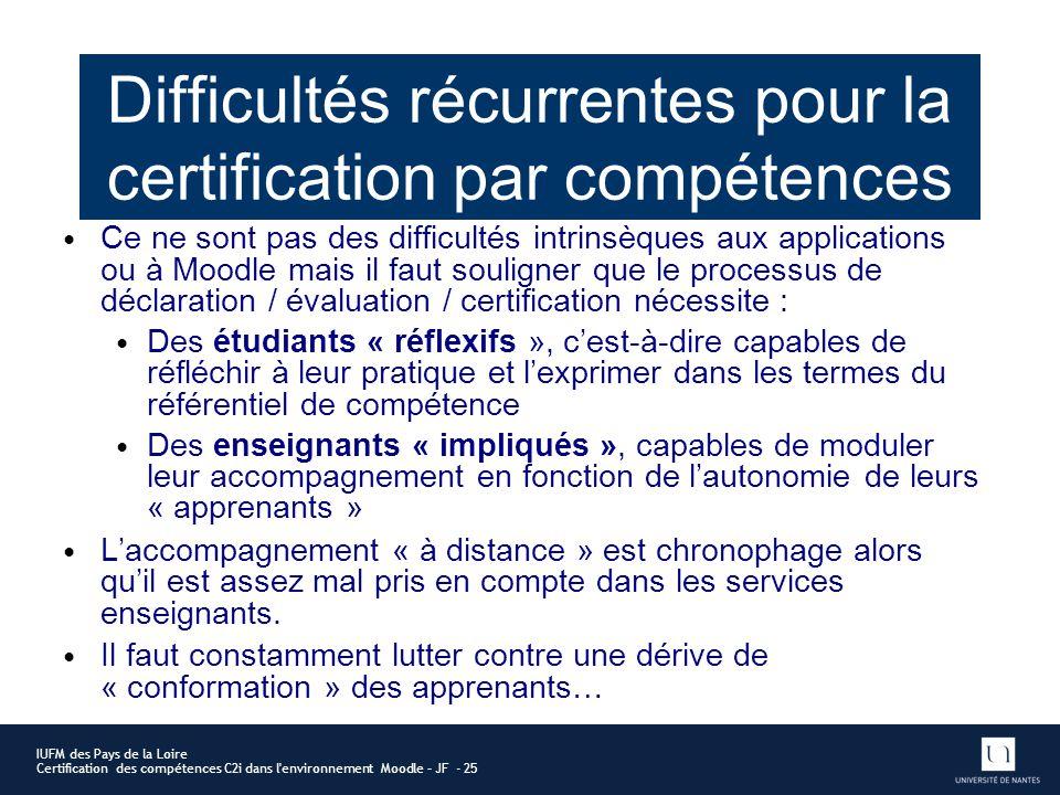Difficultés récurrentes pour la certification par compétences