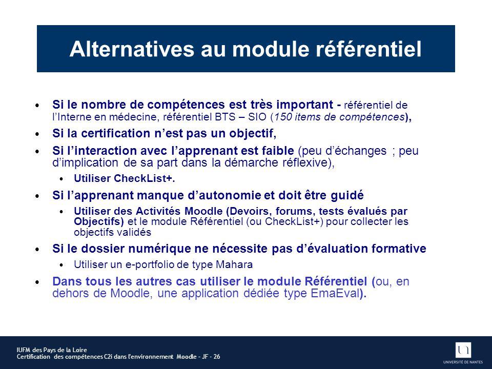 Alternatives au module référentiel