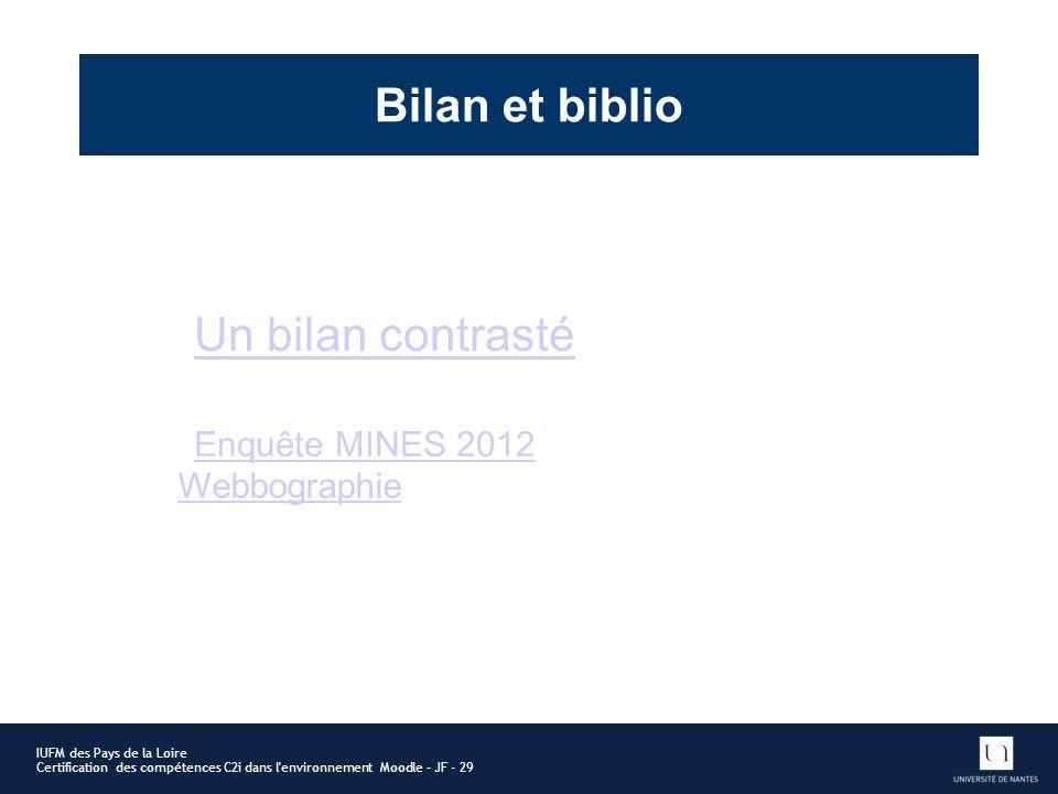 Bilan et biblio Un bilan contrasté Enquête MINES 2012 Webbographie