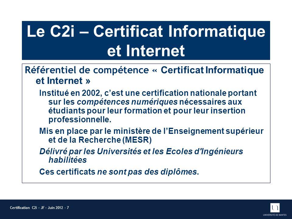 Le C2i – Certificat Informatique et Internet