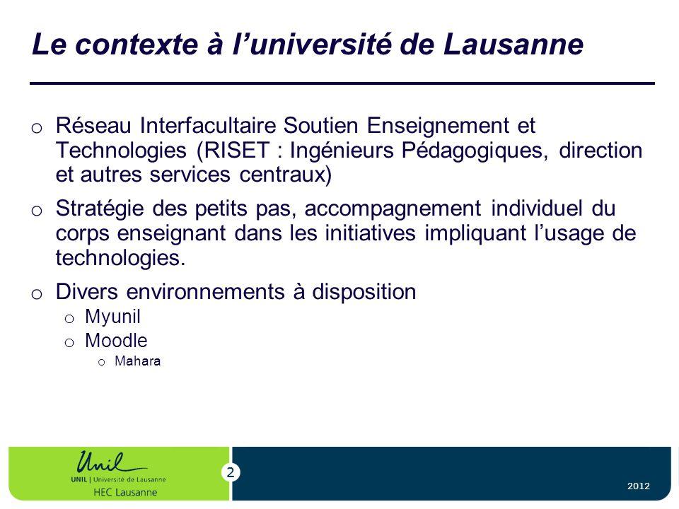 Le contexte à l'université de Lausanne