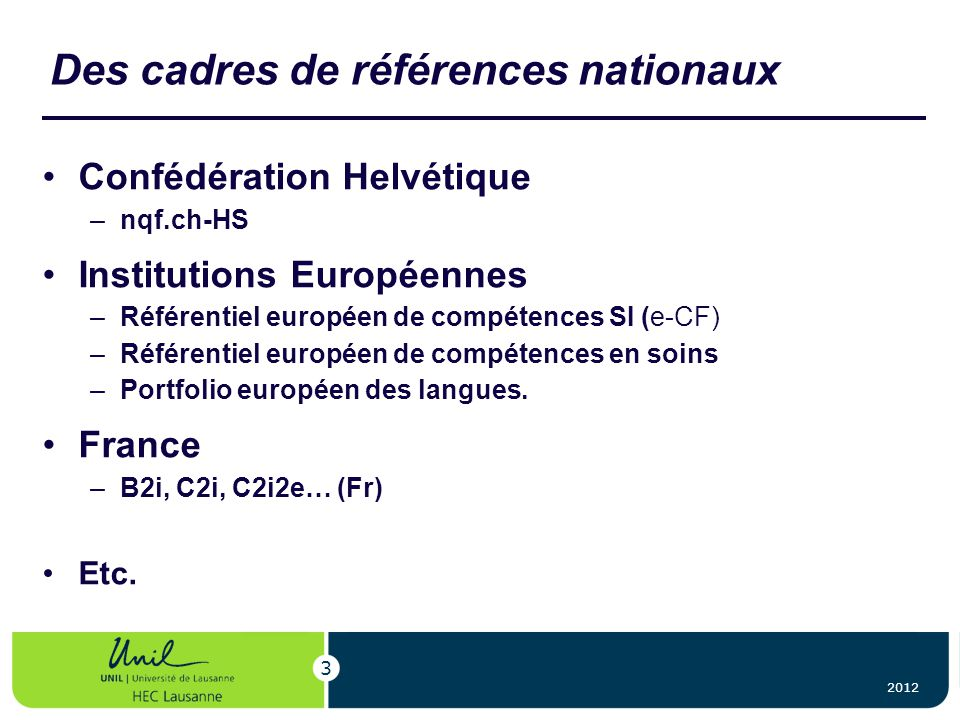 Des cadres de références nationaux