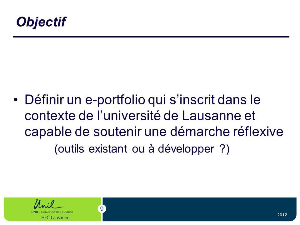 Objectif Définir un e-portfolio qui s'inscrit dans le contexte de l'université de Lausanne et capable de soutenir une démarche réflexive.
