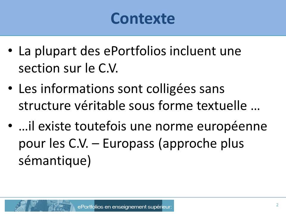 Contexte La plupart des ePortfolios incluent une section sur le C.V.