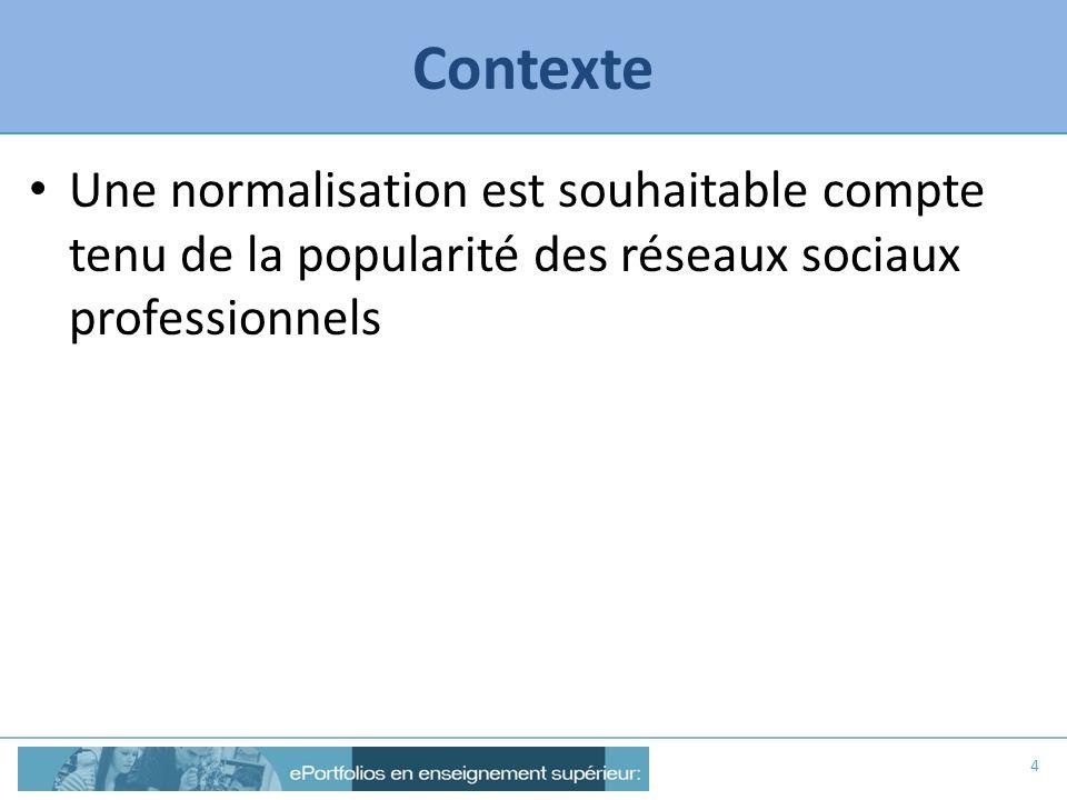Contexte Une normalisation est souhaitable compte tenu de la popularité des réseaux sociaux professionnels.