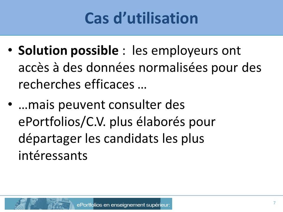 Cas d'utilisation Solution possible : les employeurs ont accès à des données normalisées pour des recherches efficaces …