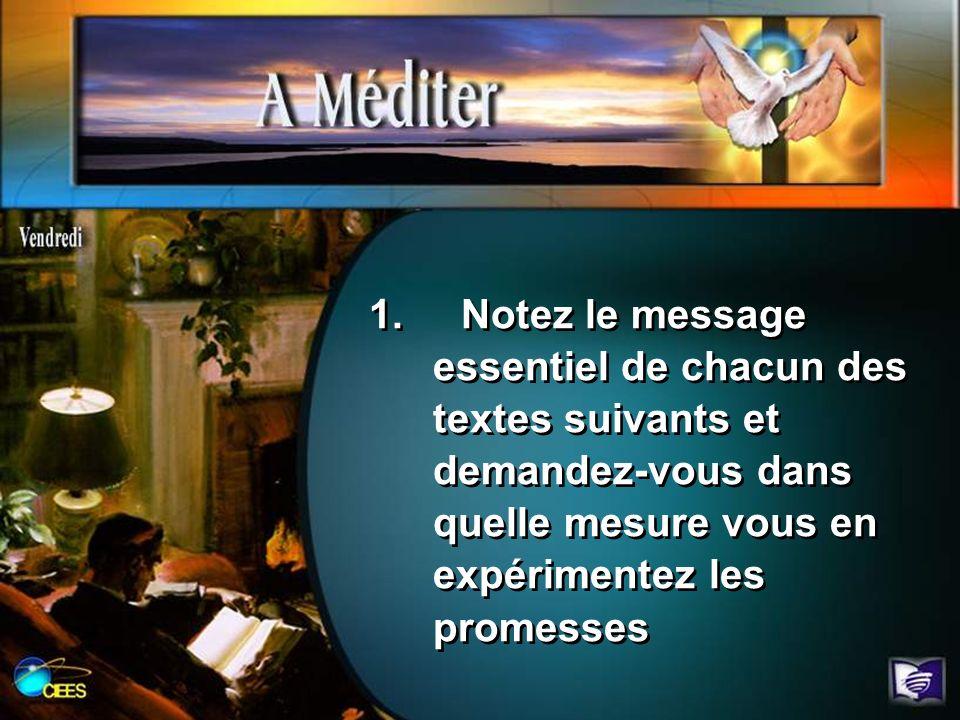 1. Notez le message essentiel de chacun des textes suivants et demandez-vous dans quelle mesure vous en expérimentez les promesses