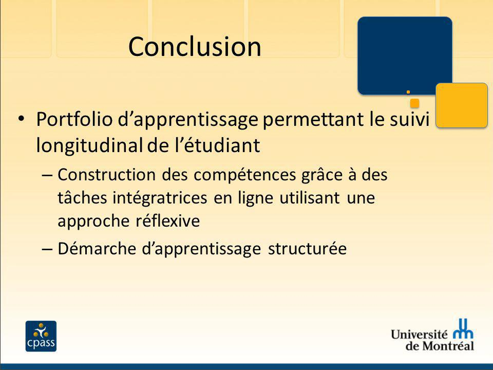 Conclusion Portfolio d'apprentissage permettant le suivi longitudinal de l'étudiant.