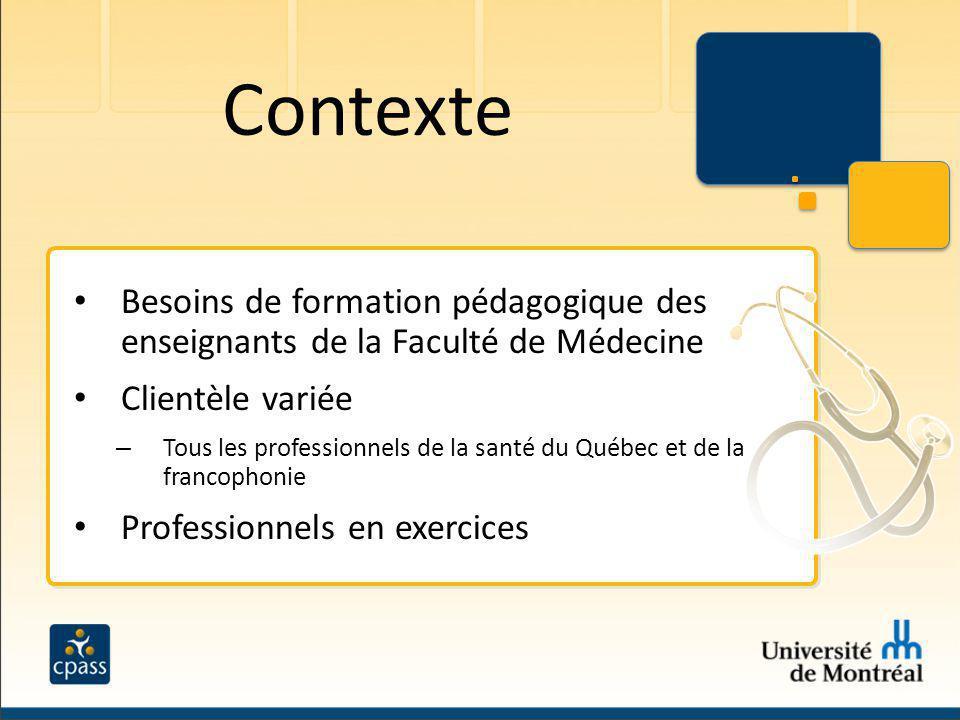 Contexte Besoins de formation pédagogique des enseignants de la Faculté de Médecine. Clientèle variée.