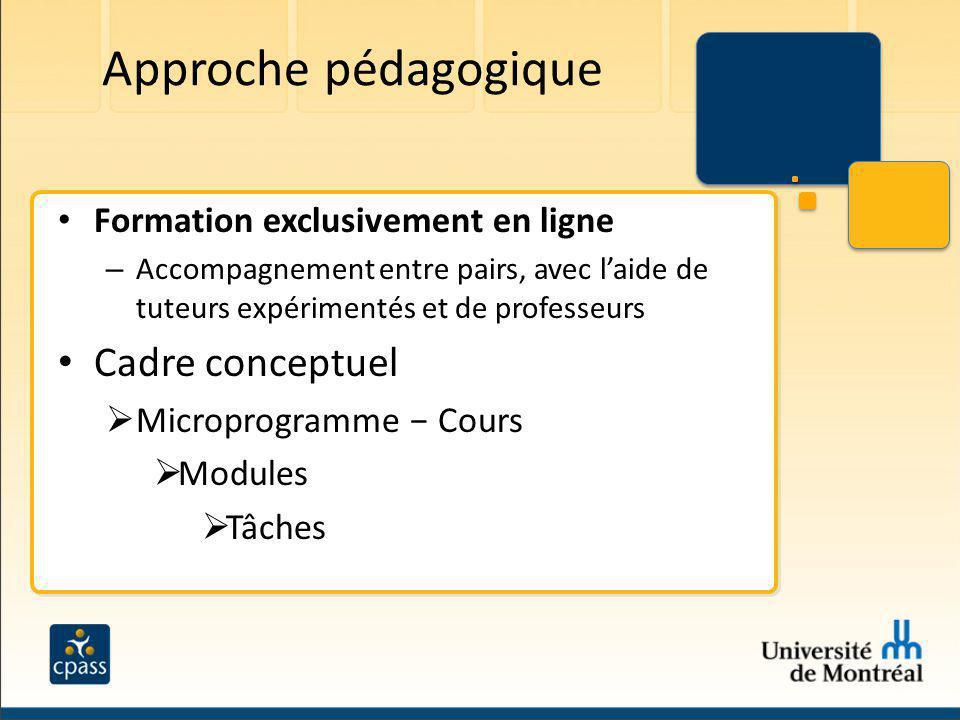 Approche pédagogique Cadre conceptuel Formation exclusivement en ligne