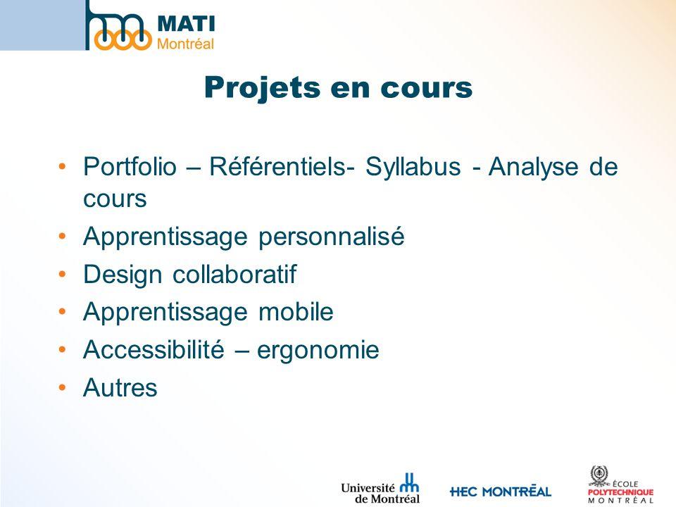 Projets en cours Portfolio – Référentiels- Syllabus - Analyse de cours