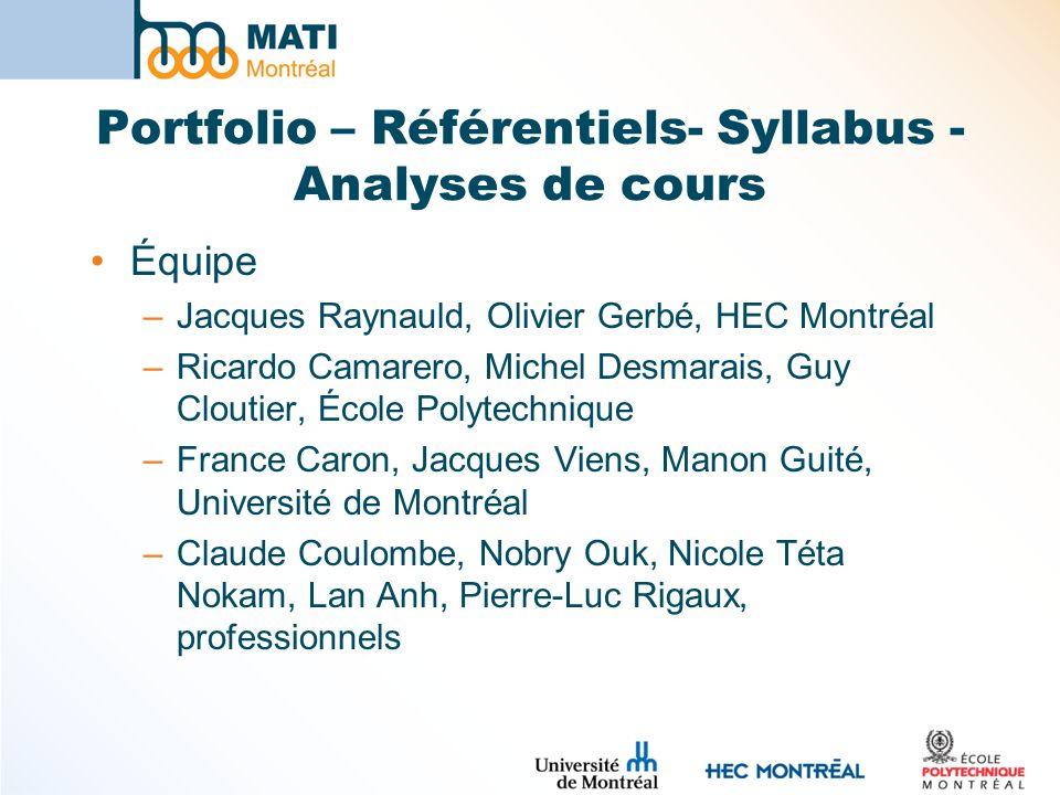 Portfolio – Référentiels- Syllabus - Analyses de cours