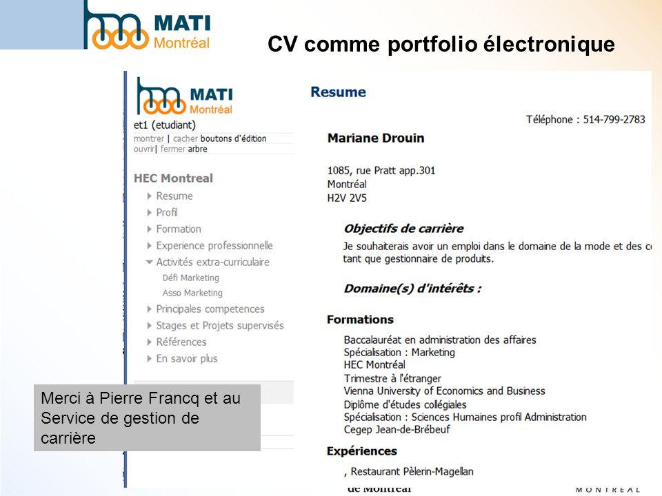 CV comme portfolio électronique